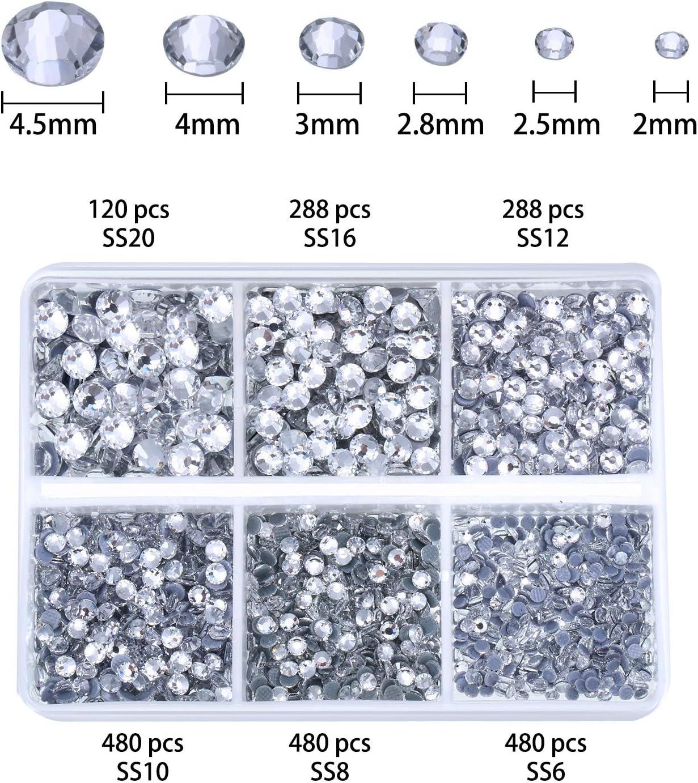 4 Boxen in 7 Gr/ö/ßen klare und klare AB-Kristall-Strasssteine mit Pinzette und Bohrstift mehrfarbig Hotfix Strass-Applikator-Set flache R/ückseite 8836 St/ück