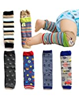 Elesa Miracle 6-pack Baby & Toddler Cozy Soft Leg Warmers, Gift Set for Boys & Girls, Pink, Stripes, Heart-shaped Dots