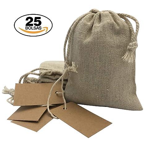 7cc97e0d0 Bolsitas para regalos de tela de arpillera con etiquetas de papel Kraft.  Bodas, comuniones, bautizos, etc.