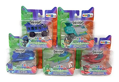 PJ Masks Complete Set of 5 Exclusive Diecast Vehicles with Romeo & Night Ninja