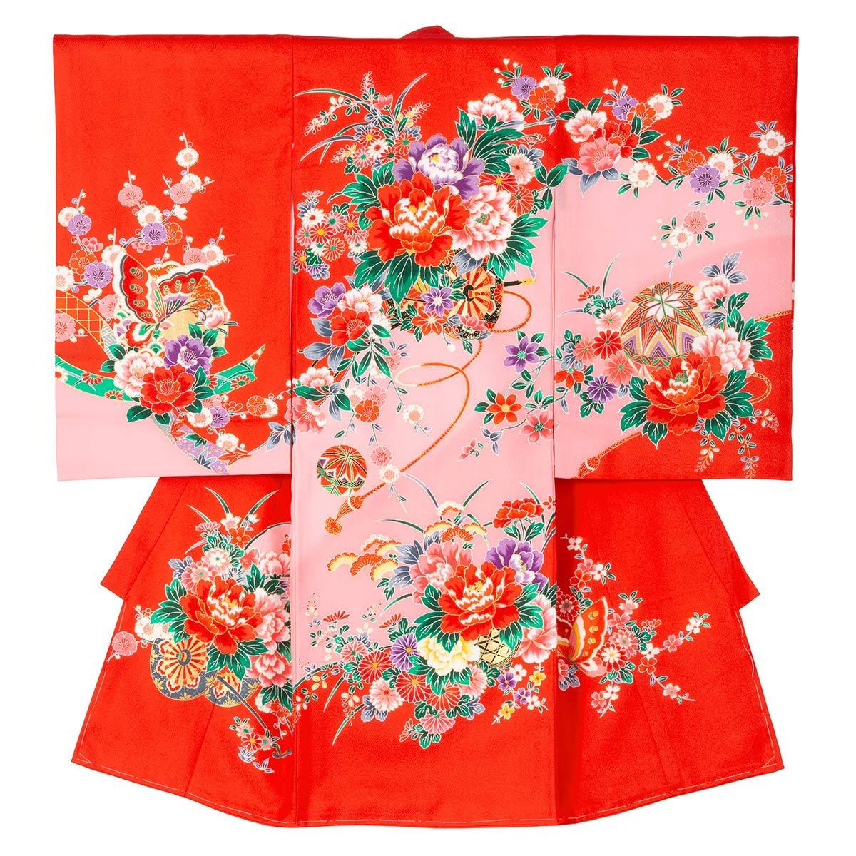 女の子初着 お宮参り着物 ポリエステル 赤ピンク 芍薬と花車   B07SPX3S59