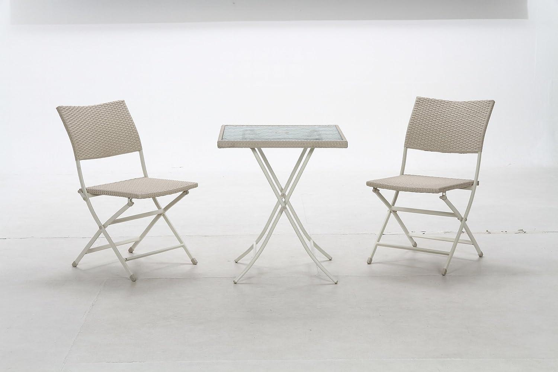 ガーデン テーブルとチェアの3点 セット ホワイト 95683-95682x2 B00BCU3V1W
