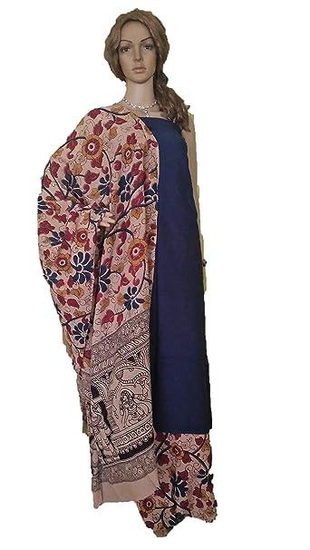 78a7e744b2 Perennial Women Cotton Kalamkari Salwar Suit Set of 3 Unstitched Blue  Beige: Amazon.in: Clothing & Accessories