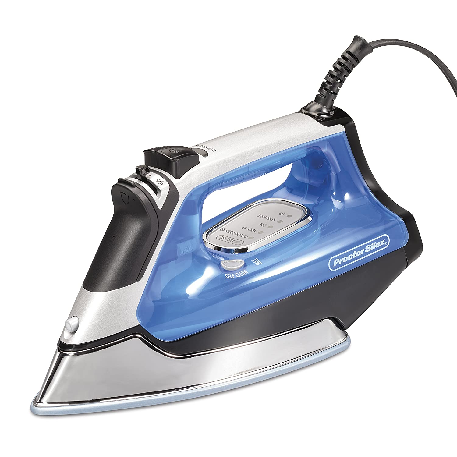 Proctor Silex Electronic Ceramic Nonstick Soleplate Steam Iron Blue
