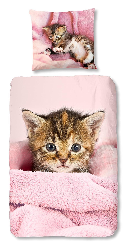 Aminata Kids Bettwäsche 135x200 cm Kinder Mädchen Katze Tiere Baumwolle Reißverschluss |inkl Gratis E-Book| Rosa Kinderbettwäsche Tierbaby Kätzchen Katzenbaby 2-teiliges Bettwäscheset Bettbezug