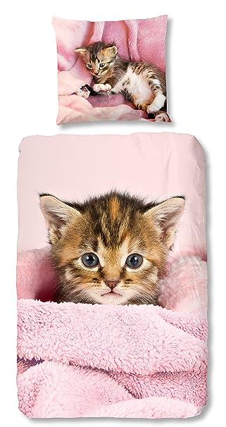 Aminata Kids Kinder Bettwäsche Set 135 X 200 Cm Katze N Motiv Haus
