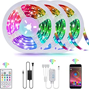 LED Strip Lights,TATUFY 50FT/15m Smart Led Lights Strip SMD5050 Music Sync Color Changing RGB Lights APP Bluetooth Control + Remote, LED Lights for Bedroom Party Home Decoration