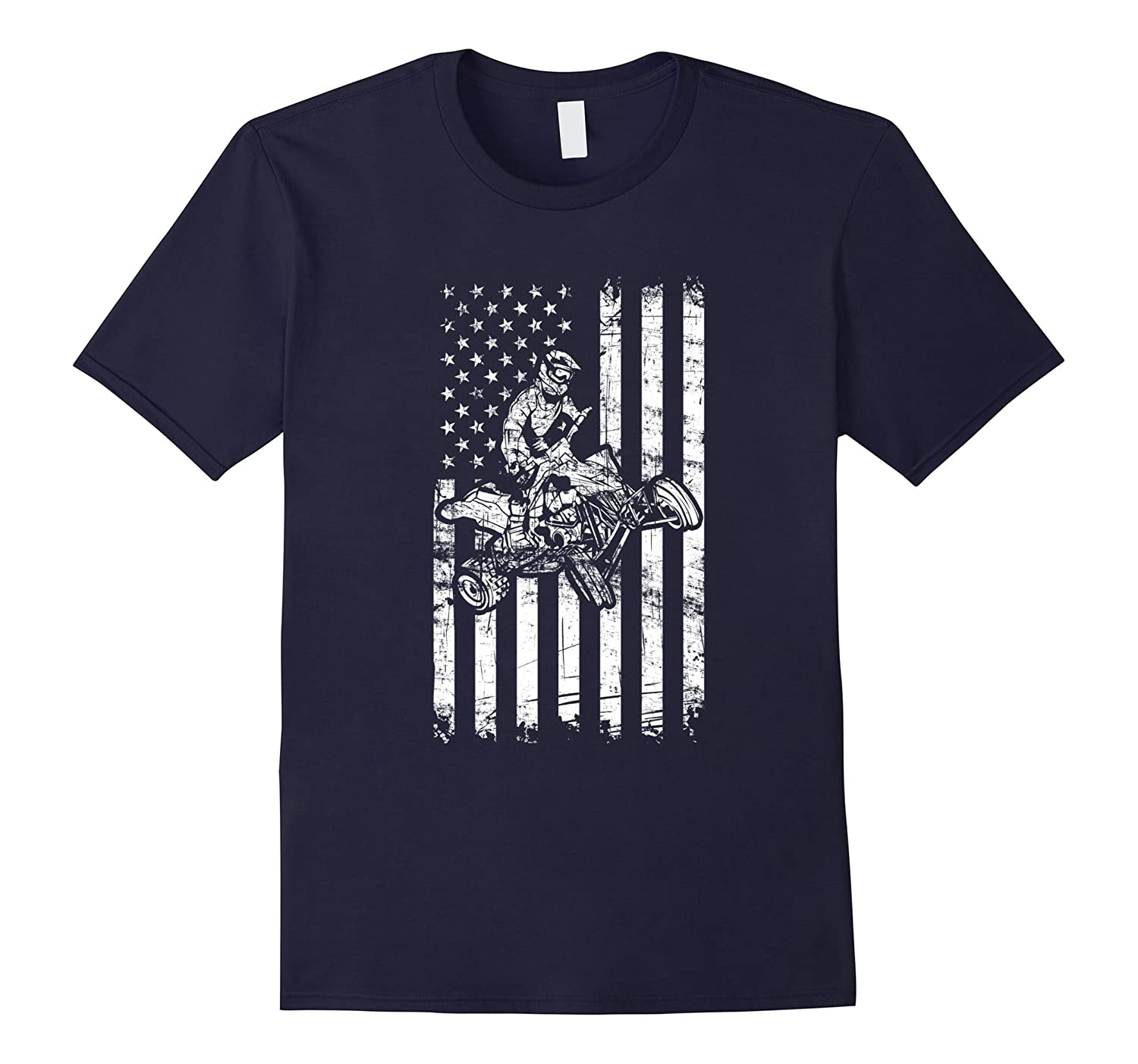 American Flag cool Four Wheeler Quad Bike ATV T-Shirt-FL