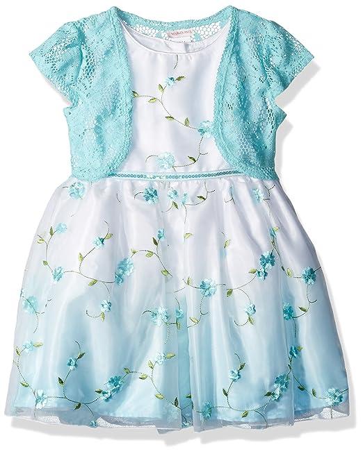 b49620f63 Youngland - Vestido de Punto para niña con Bordado de Tela,  Aguamarina/Blanco,