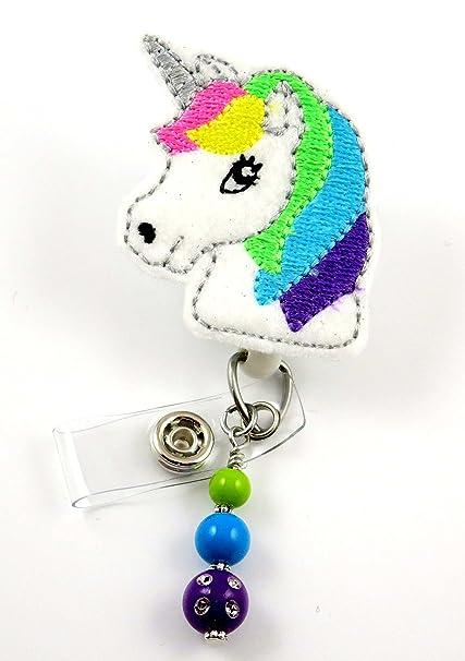 Amazon com : Cute Unicorn - Nurse Badge Reel - Retractable ID Badge