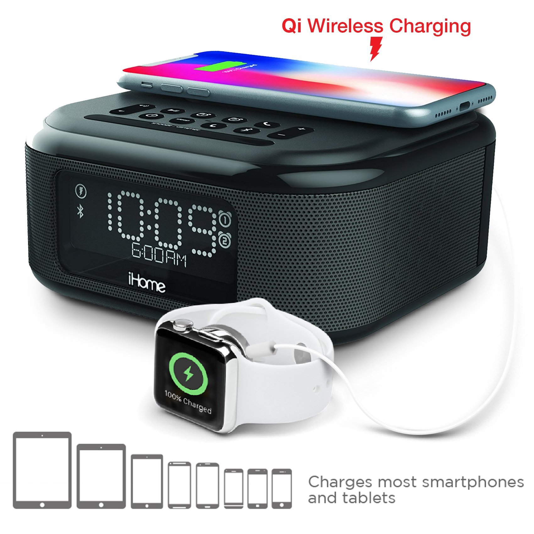 iHome iBTW23 Wireless Charging Bluetooth Alarm Clock with Speakerphone & USB Charging Port for iPhone X 8/8Plus & More