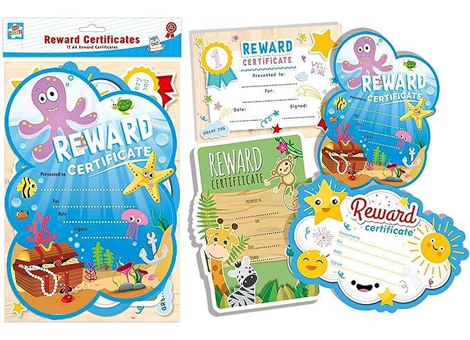 Amazon 12 A4 Reward Certificates In Assorted Colourful Designs