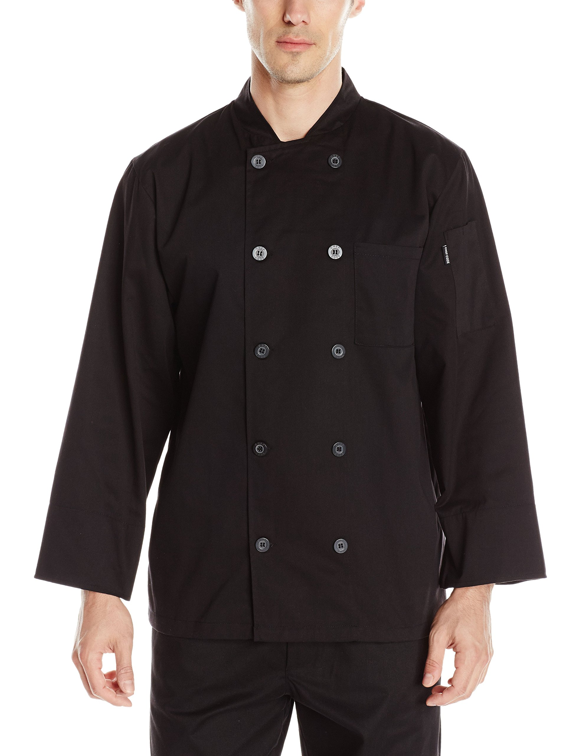 Chef Code Men's Basic Pearl Button Long Sleeve Coat, Black, Medium