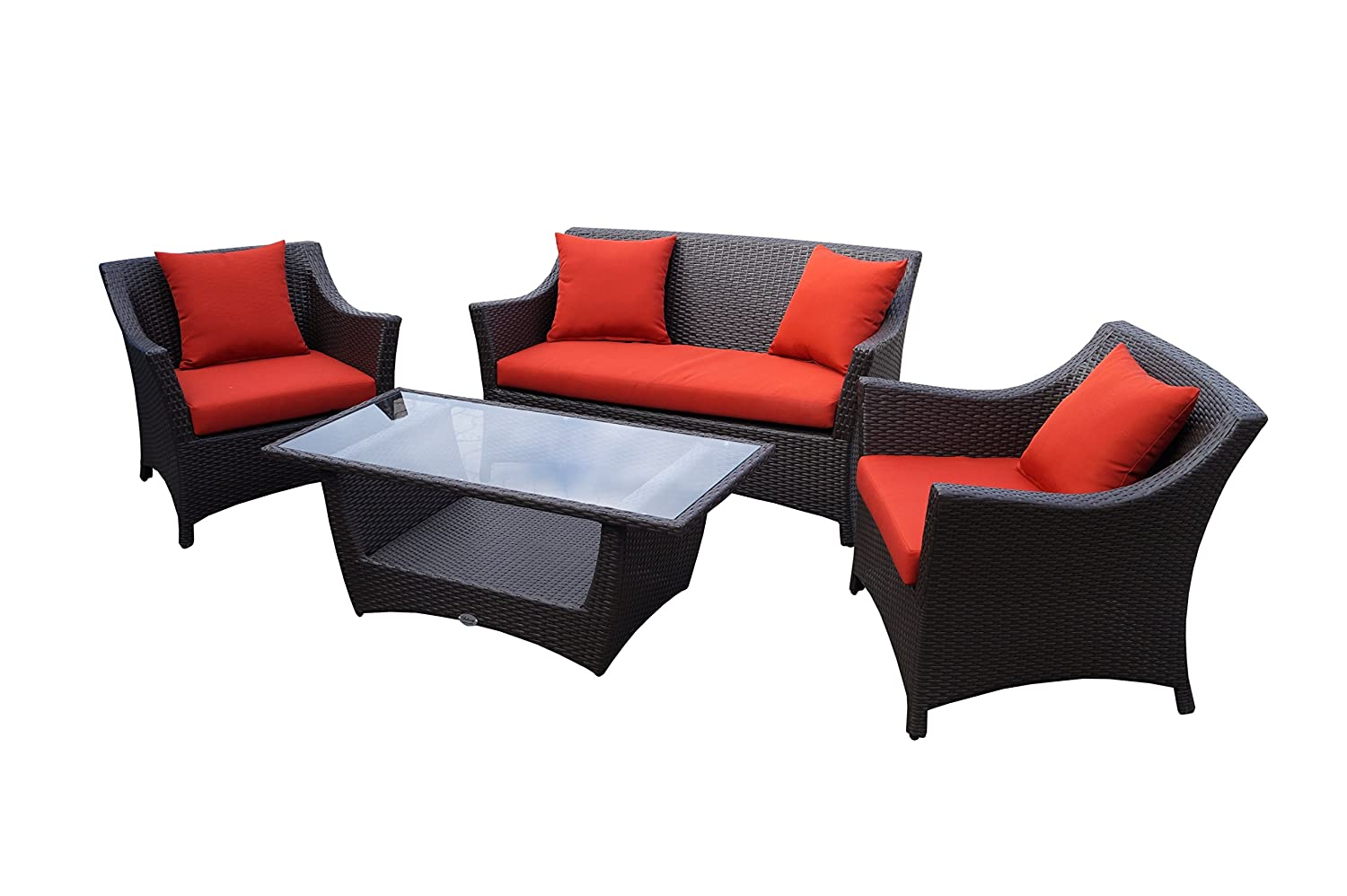 rattan lounge set polyrattan gartenm bel garnitur sofa. Black Bedroom Furniture Sets. Home Design Ideas