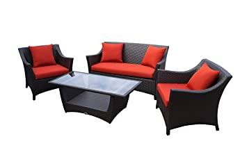 Rattan Lounge Set   Polyrattan Gartenmöbel Garnitur Sofa U2013 Sitzgruppe Mit  Hoher Lehne   Braun