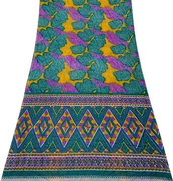 PEEGLI Indio Étnico Vintage Púrpura Étnico Mujer Sari Seda Mezcla Diseño DIY Tela Casual Vestir Vestido