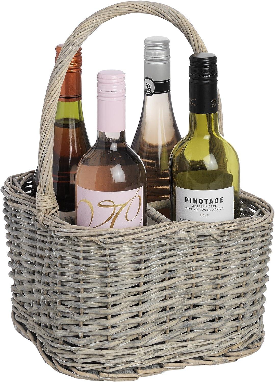 Brown One Size Hill Interiors Wicker 4 Bottle Wine Basket