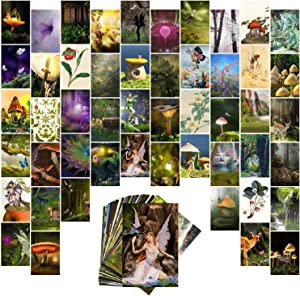 WOOBEE Fairycore Wall Collage Kit Bedroom Decor 50 Aesthetic Pictures, Art Teen Girl Room VSCO Posters, Cute Indie Fairy, Mushroom Green 4x6 inch