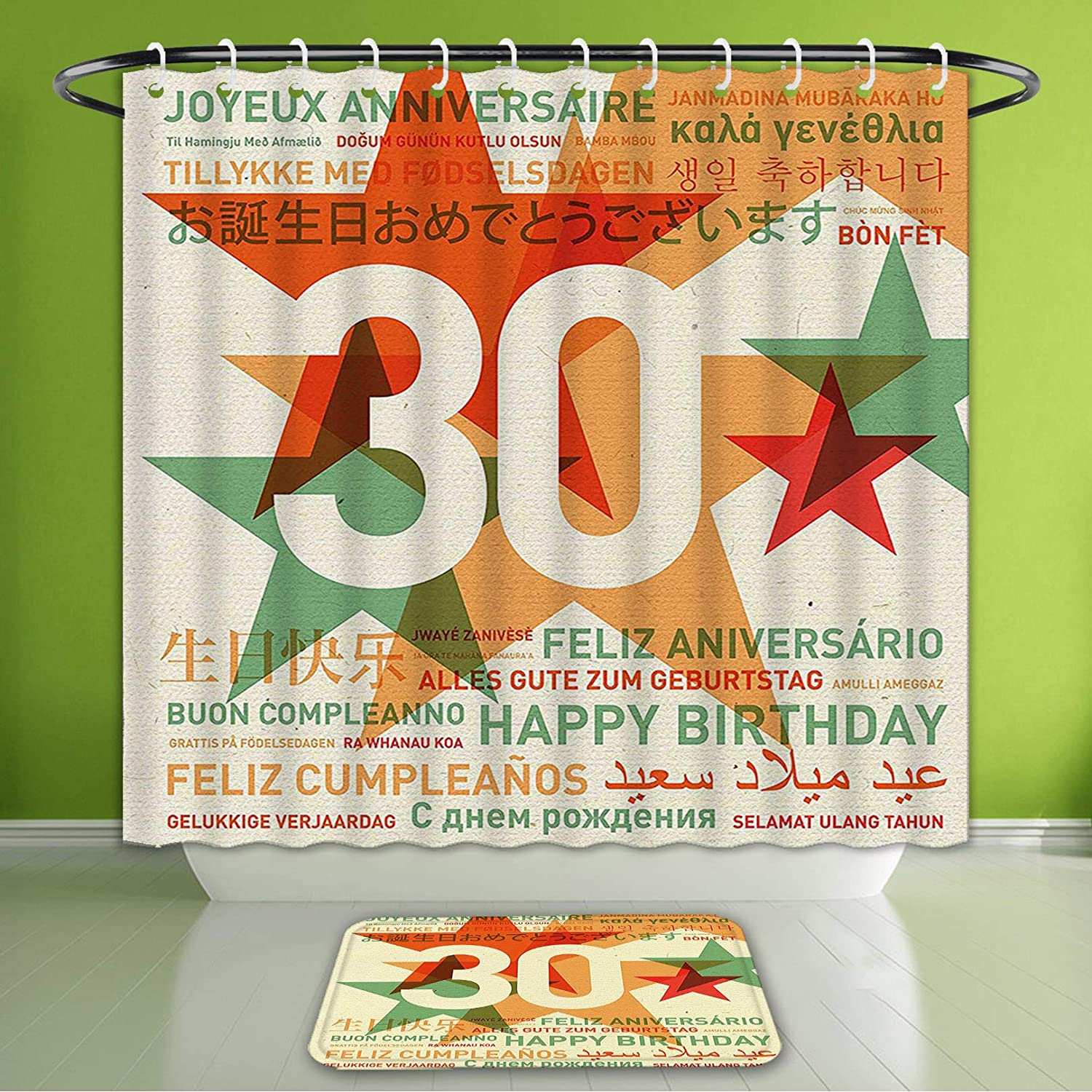 Amazon Com Waterproof Shower Curtain And Bath Rug Set 30th Birthday