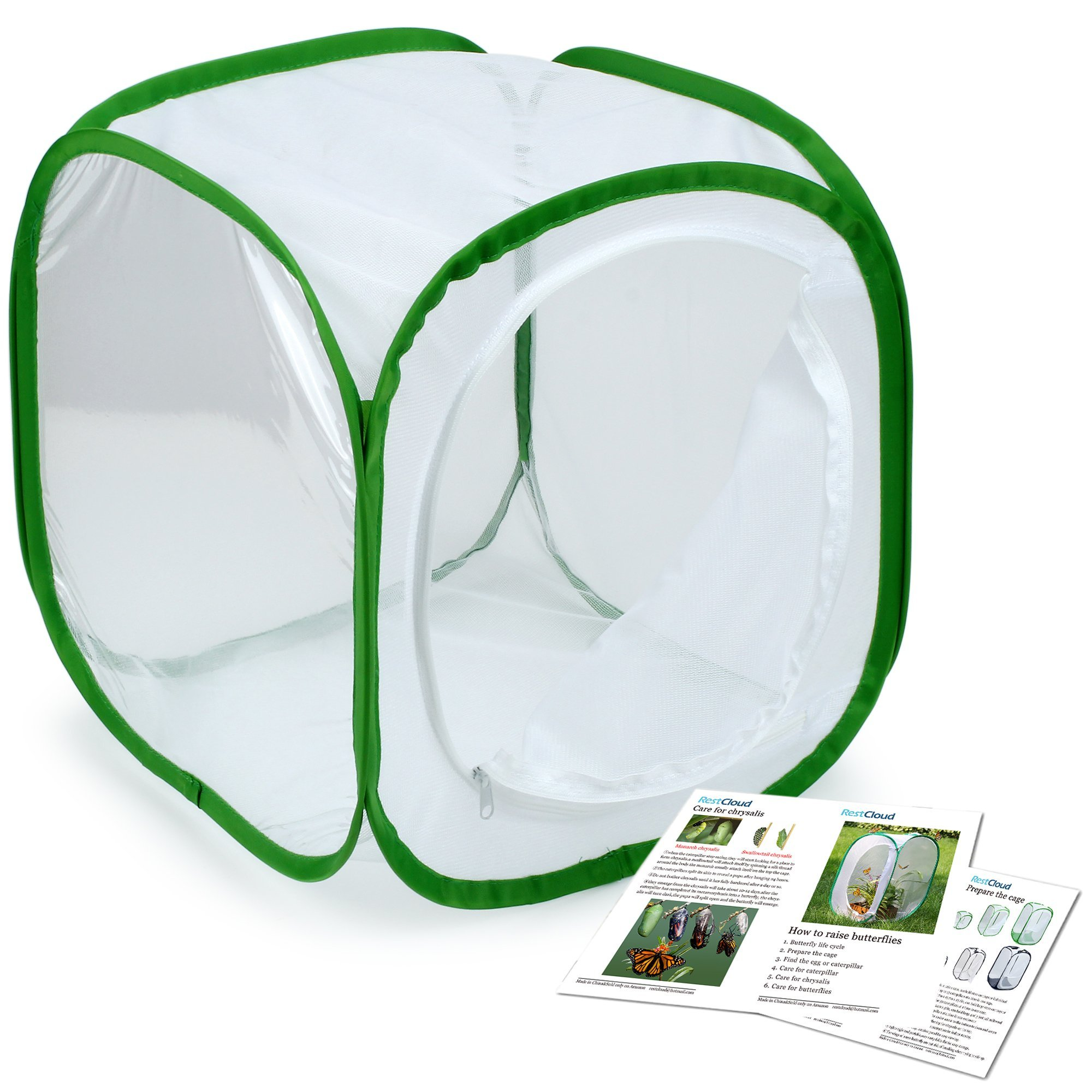 Restcloud Insect and Butterfly Habitat Cage Terrarium - Pop-up 12 X 12 X 12 Inches