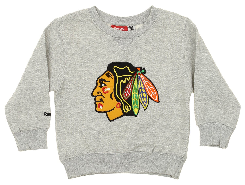 Reebok NHL Toddler s Chicago Blackhawks Prime Pullover Fleece Crew  Outerstuff b41288550