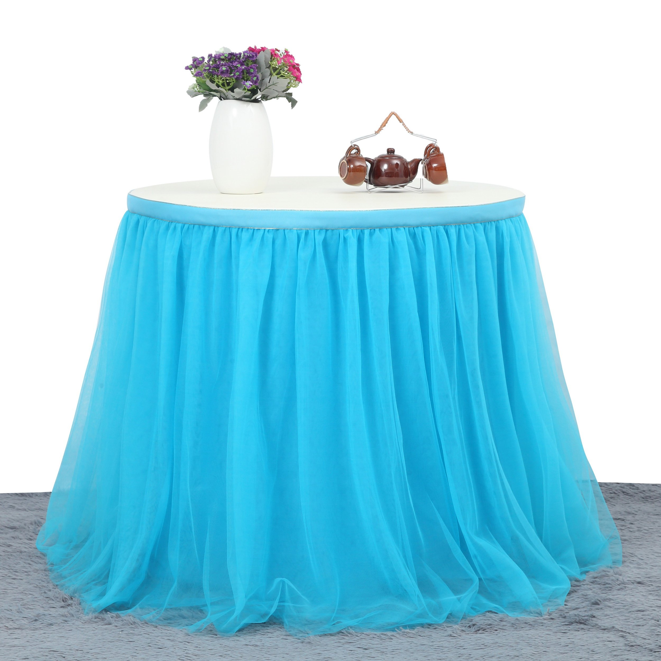 Suppromo 3 Yards High-end Gold Brim 3 Layer Mesh Fluffy Tutu Table Skirt Tulle Tableware For Party,Wedding,Birthday Party&Home Decoration,Table Skirting (L9(ft) H 30in, Blue)