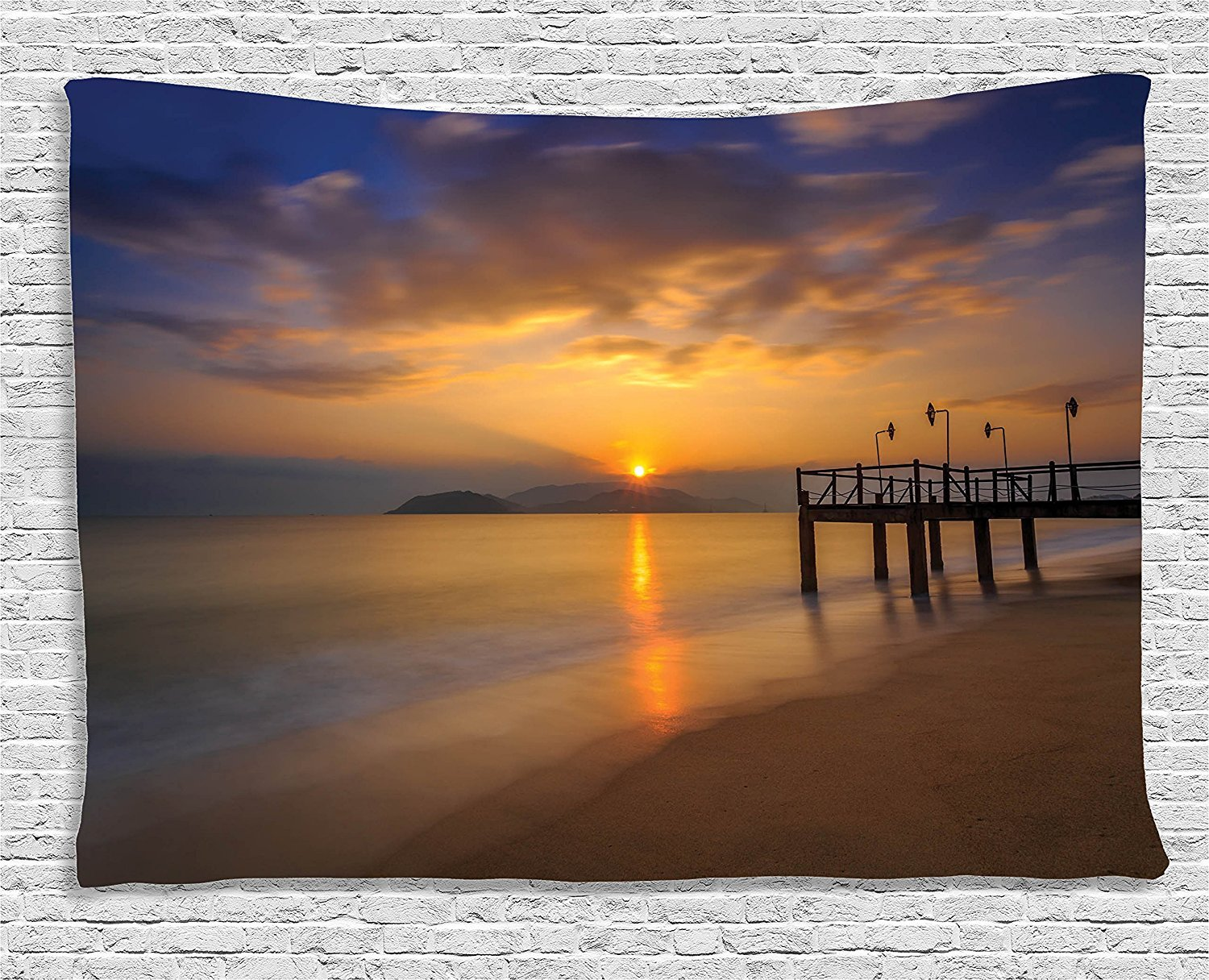 asddcdfdd Scenery House Decor Tapestry, Surreal Magical Overcast Air with Sun Shore in Ocean Filtered Photo, Wall Hanging for Bedroom Living Room Dorm, 80WX60L Inches, Cream Blue
