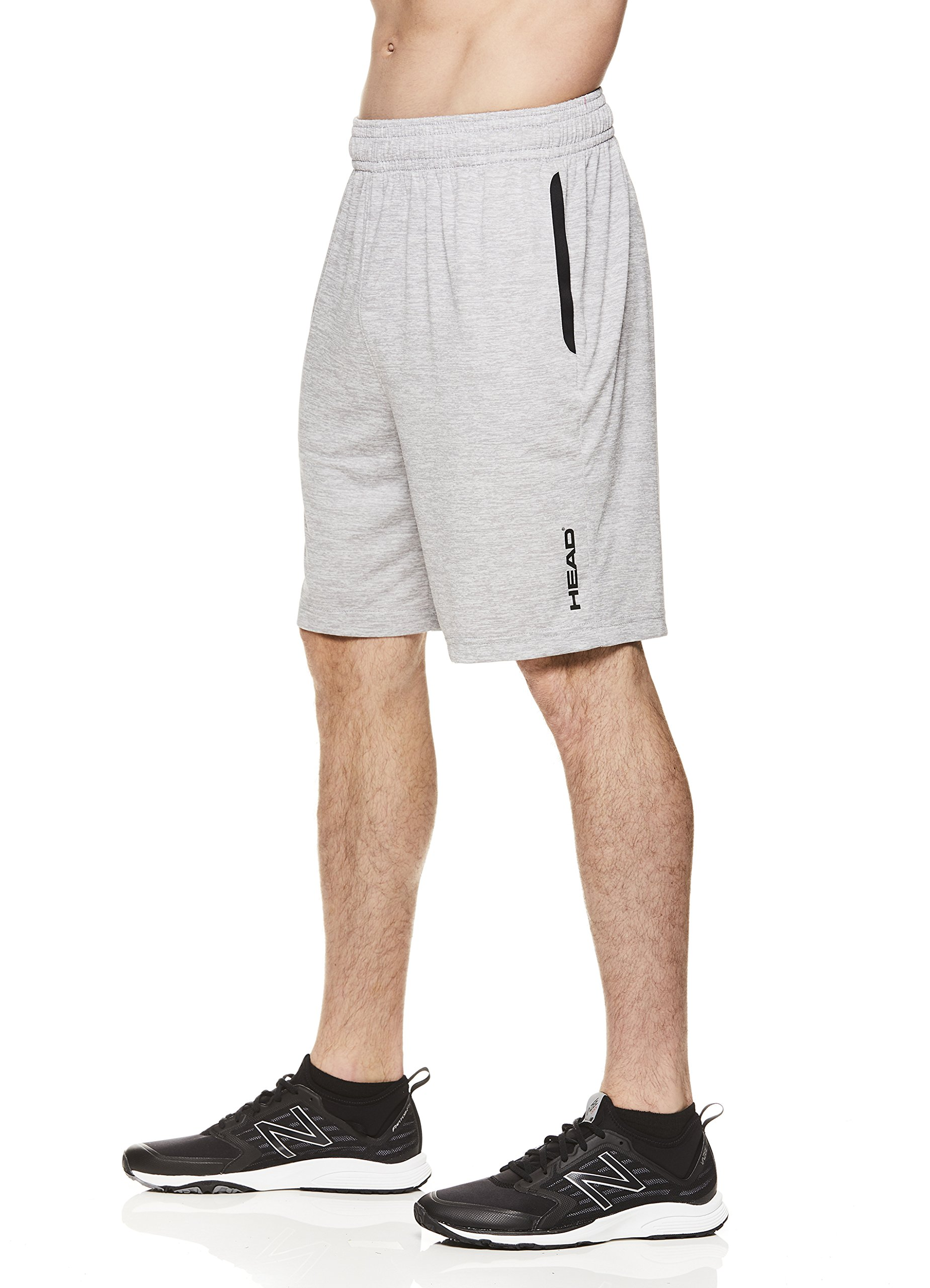 HEAD Men's Polyester Workout Gym & Running Shorts w/Elastic Waistband & Drawstring - Advantage Sleet Heather Grey, 2X