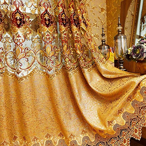 Gxi Gold Jacquard Curtain Drapes 84 inch Set of 2 Panels Embroidered Luxury European Curtain