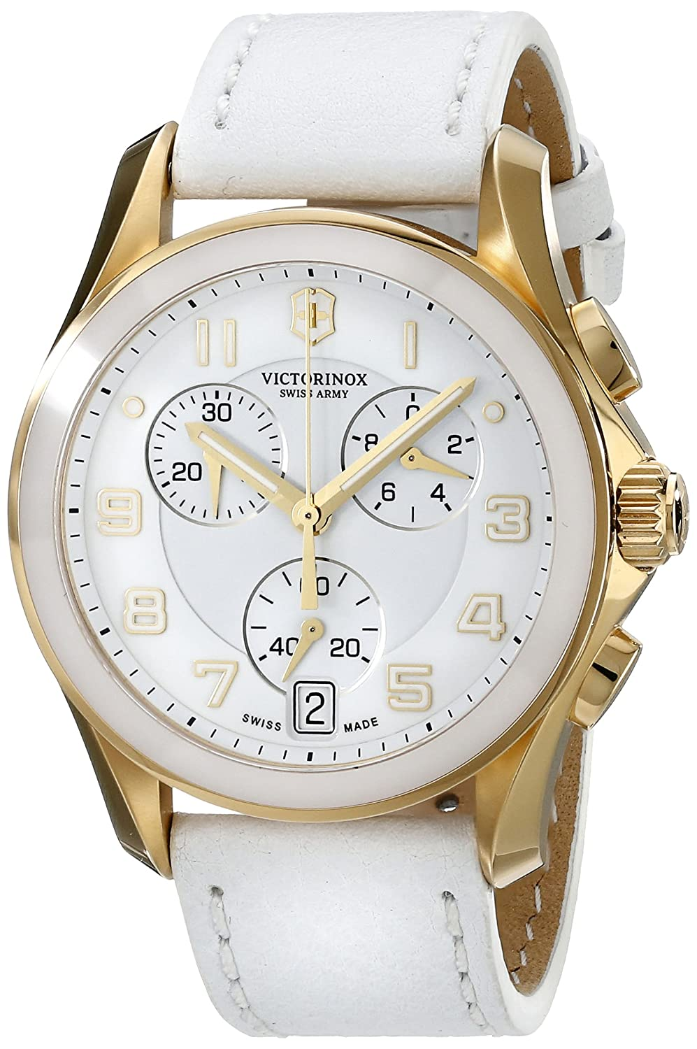 Swiss Army Chrono Classic Gold Tone Stainless Steel & Ceramic Womens Strap Watch White Dial 241511