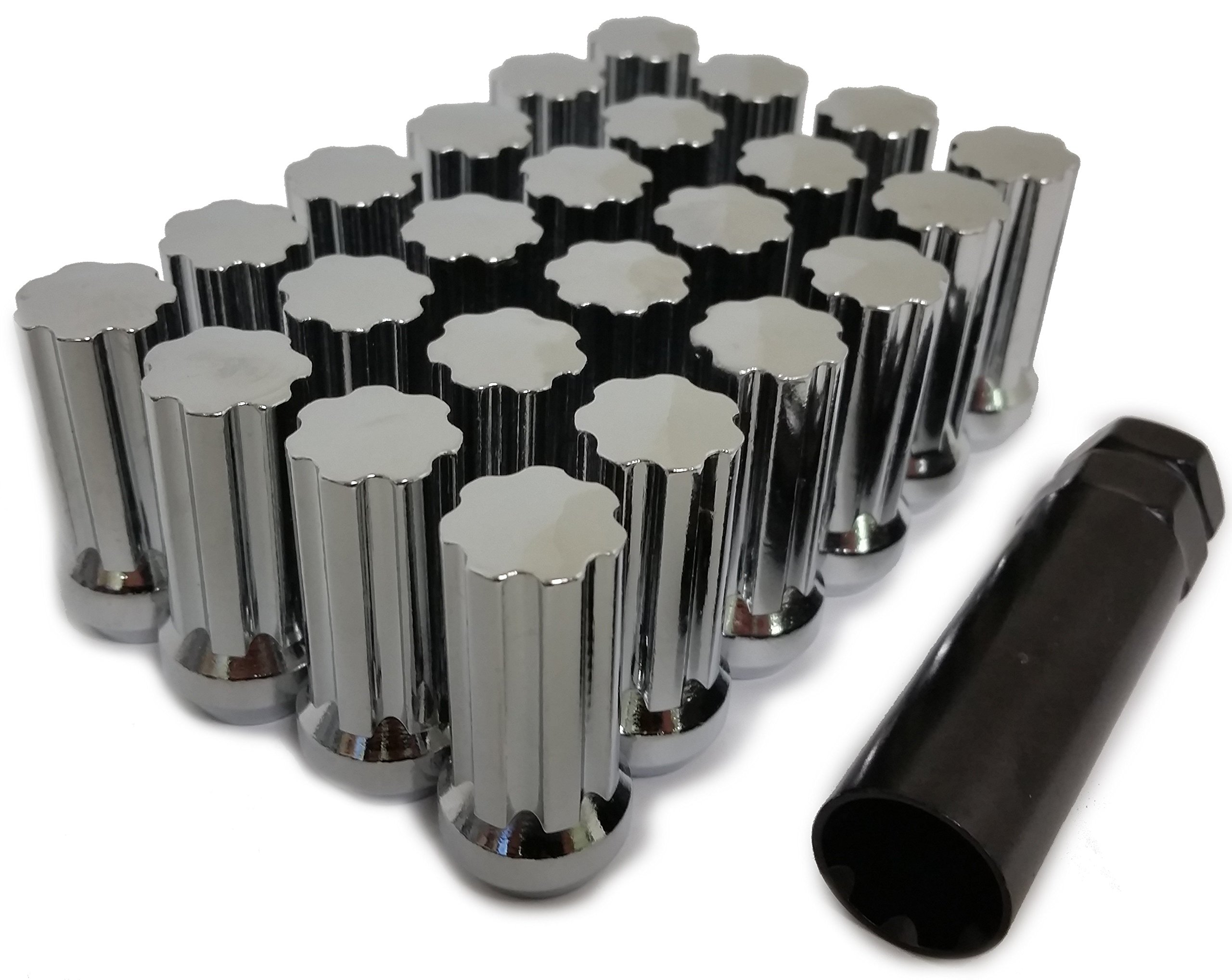 24 CHROME SPLINE LUG NUTS | 14X1.5 | CHEVY GMC SILVERADO HUMMER | 6X5.5 + 6X139.7