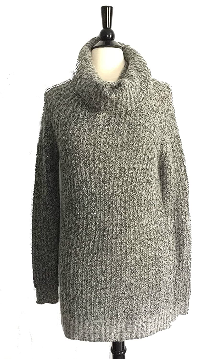 Mossimo Cowl Neck Tunic Sweater Gray Marled Yarn Sequin Embellished