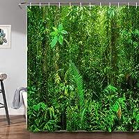 Green Forest Cortina de ducha para baño, selva tropical, selva tropical, paisaje de árboles naturales, plantas exóticas…