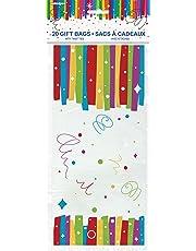Rainbow Ribbons Birthday Cellophane Bags, 20ct
