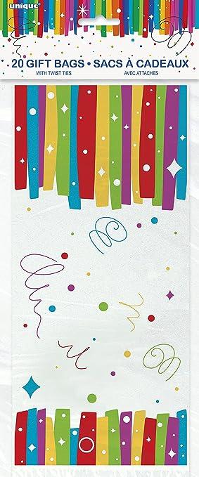 Unique Party - 49573 - Paquet de 20 Pochettes - Cadeau en Cellophane  Anniversaire Nœuds Arc