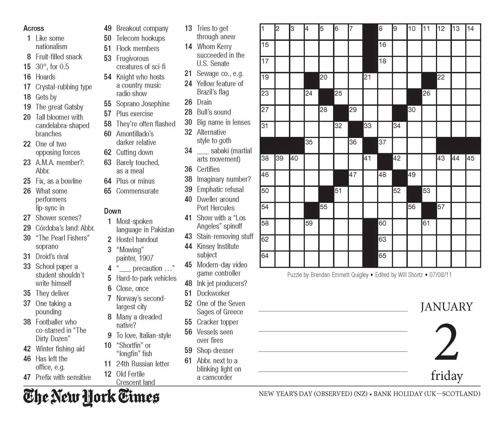 The New York Times Crossword Puzzles 2015 Day To Day Calendar