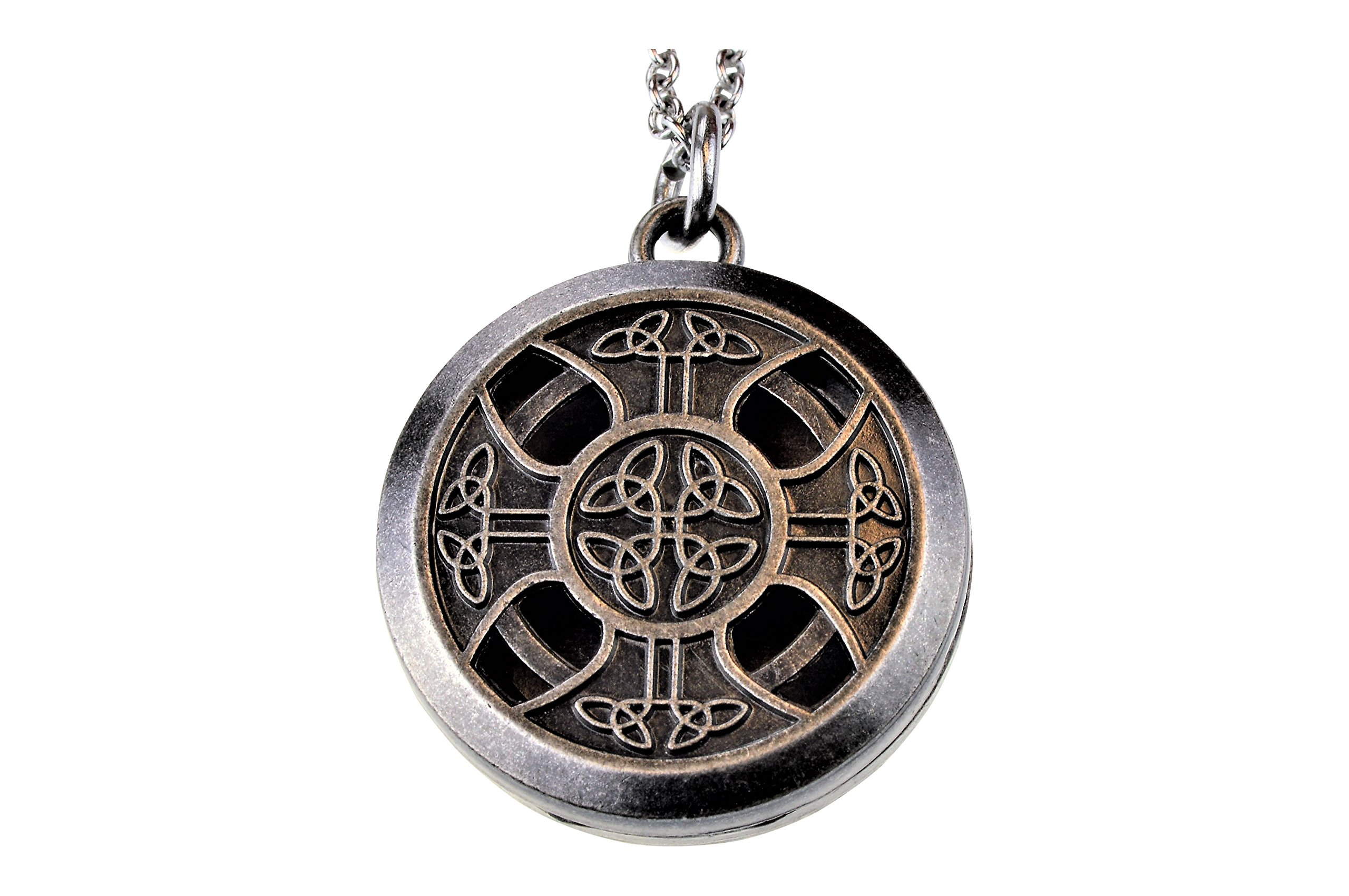 aromatherapy necklace cross aroma aum com stainless celtic locket diffuser oil jewelry essential amazon dp pendant pewter om