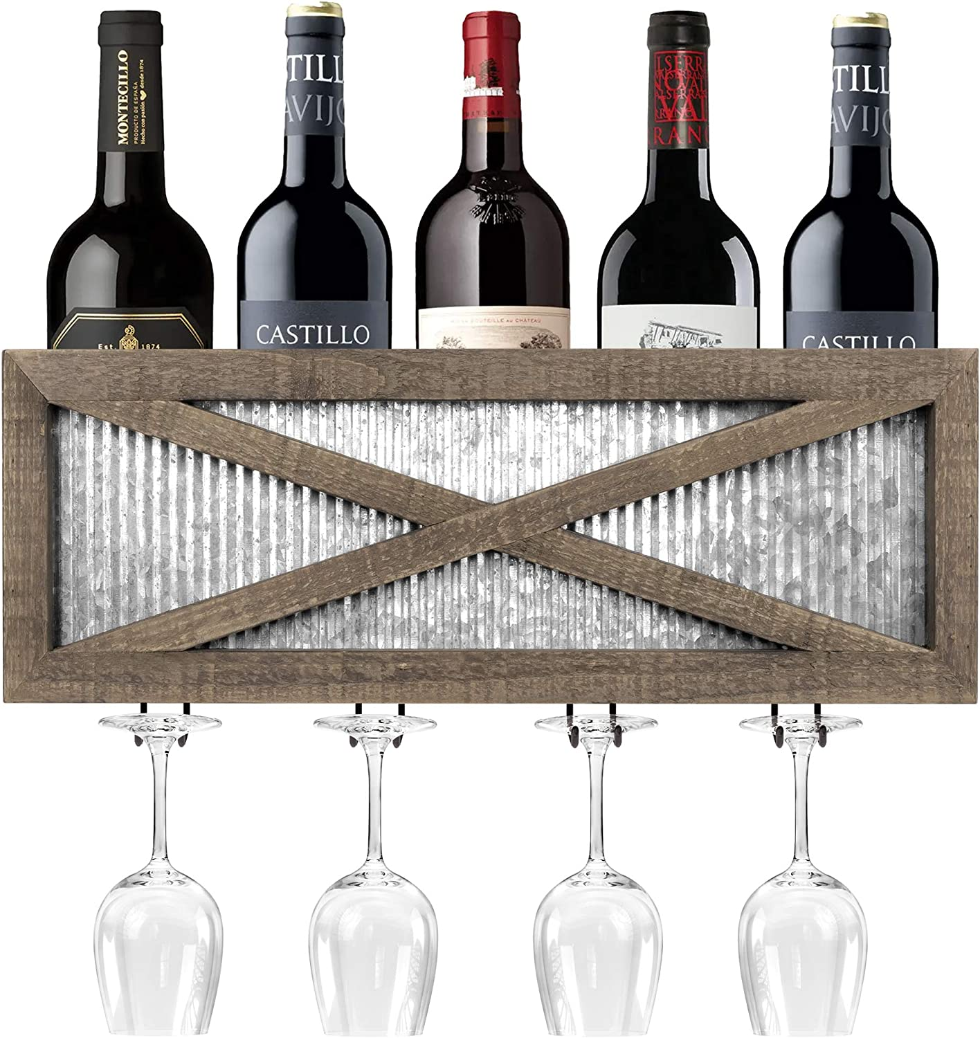 Autumn Alley Rustic Barn Door Wine Rack with Glass Storage - Country Home Decor Rustic Farmhouse for Kitchen, Dining Room – Wood and Metal Wine Wall Mount Storage – Holds 5 Bottles, 4 Stemmed Glasses