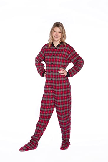 de8c608a4908 Red Plaid with Grey Hearts Cotton Flannel Adult Footed Pajamas w ...