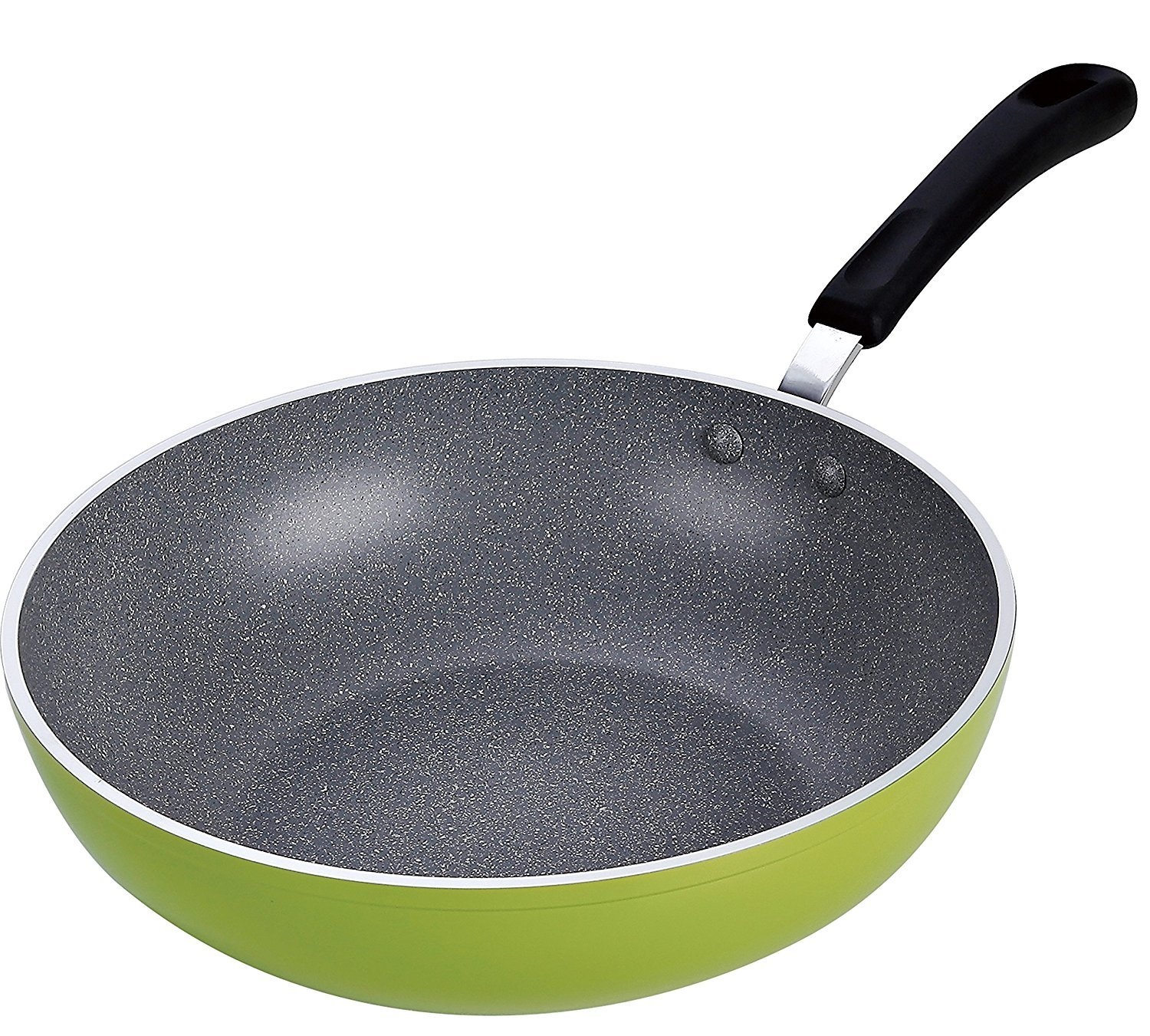 Cook N Home 12-Inch Stir Fry Pan Wok Pan 30cm with Non-Stick Coating Induction Compatible Bottom, Large, Green (3-Pack)