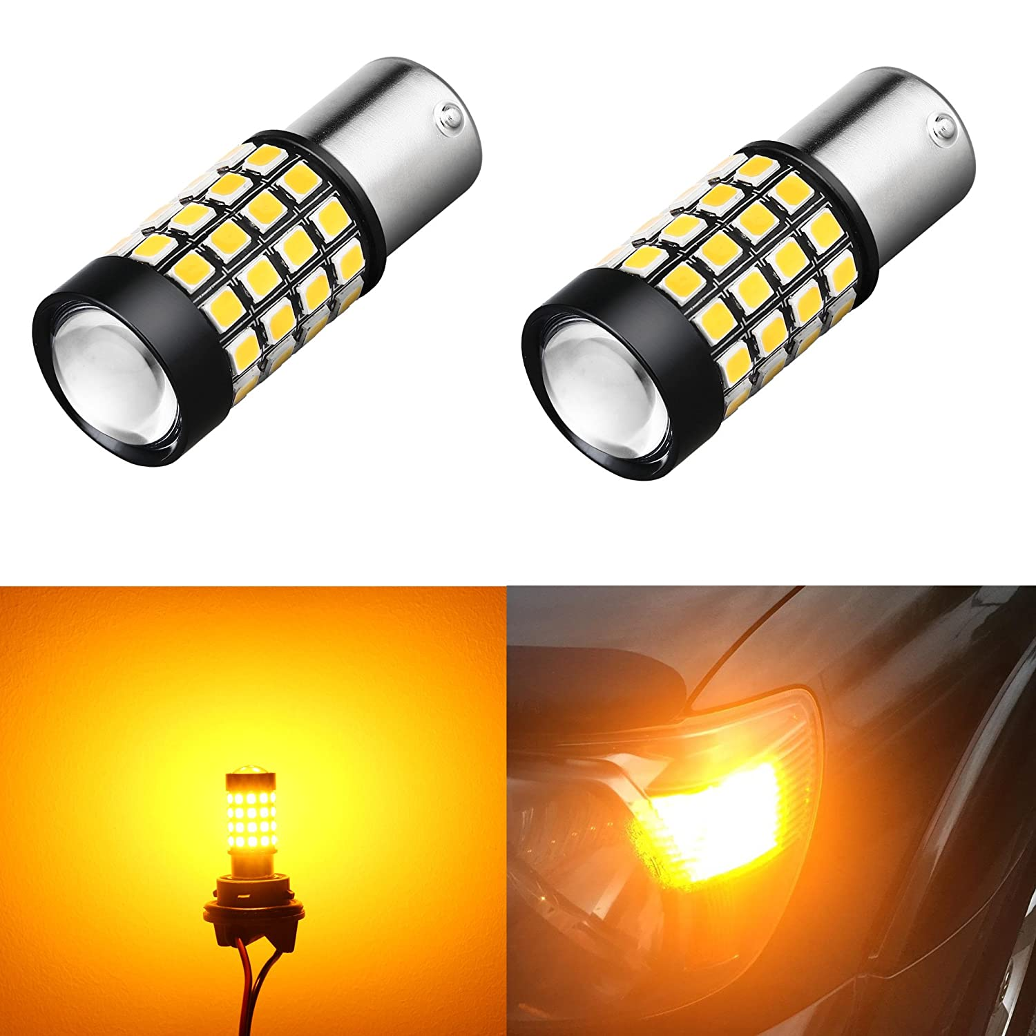 Alla Lighting 1000Lm 51-SMD Extremely Super Bright Amber Yellow BAU15S PY21W 7507 12496 LED Bulbs High Power 2835 Chipsets LED Lights Lamps Turn Signal Blinker Replacement