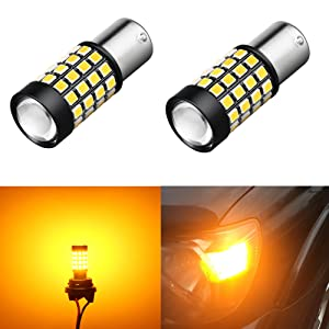 Alla Lighting 1000Lm 51-SMD Extremely Super Bright Amber Yellow BA15S 1003 1141 1156 7506 1156NA LED Bulb High Power 2835 Chipsets LED Turn Signal Blinker Lights Lamps Replacement