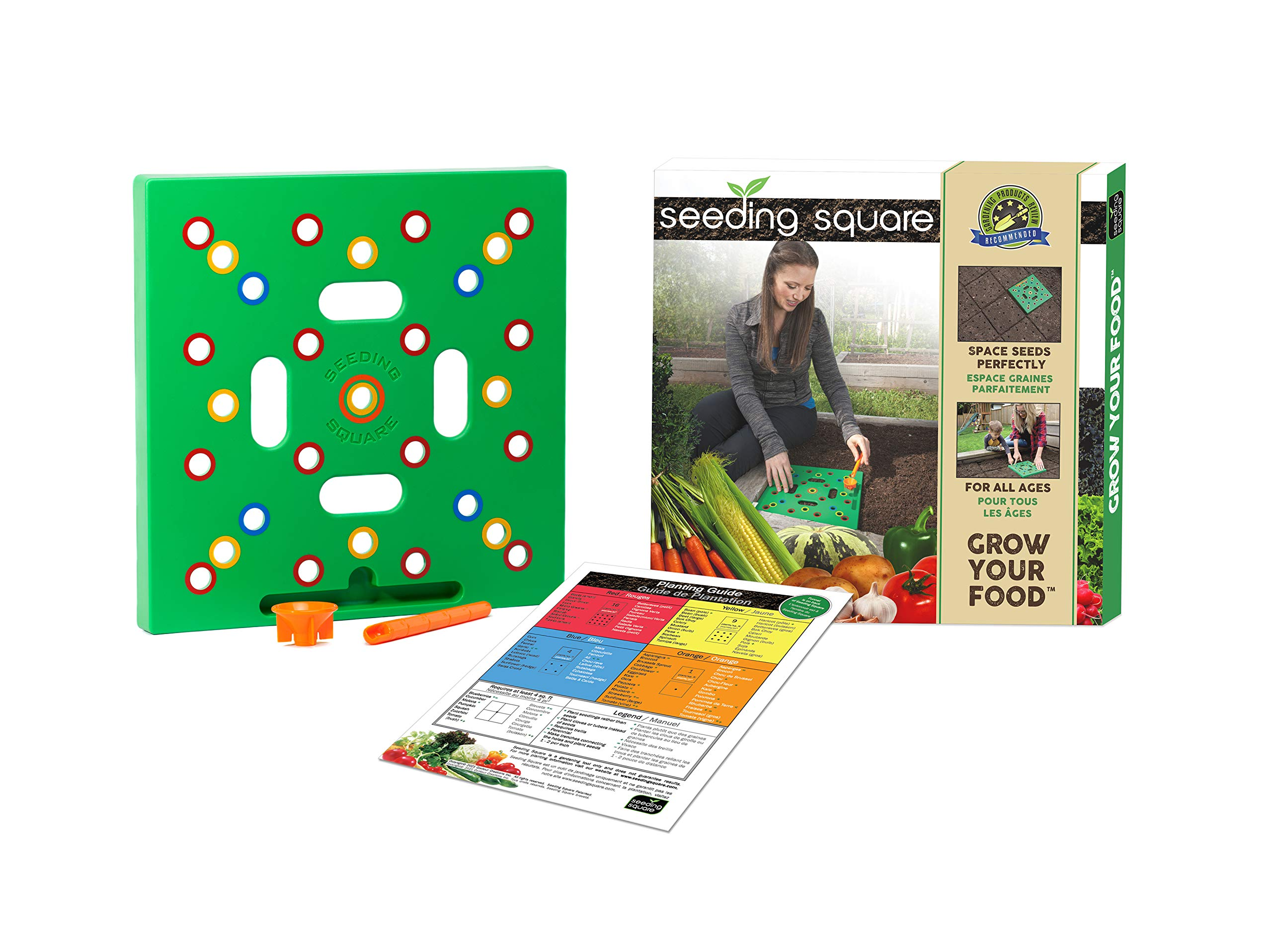Seeding Square: A Seed-Sowing Template – Grow Perfectly Spaced Vegetables, Reduce Weeds, Conserve Water & Maximize Yield – Square-Foot-Gardening Seed and Seedling Spacer Tool with Dibble, Color-Coded Spacing Template & Funnel