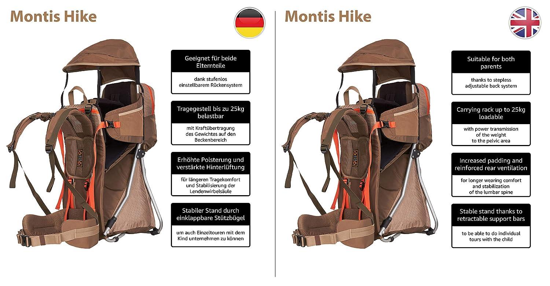 0e93e8cbff MONTIS Hike - Zaino Porta Bambino - 25kg - Diversi Colori (caffè):  Amazon.it: Sport e tempo libero