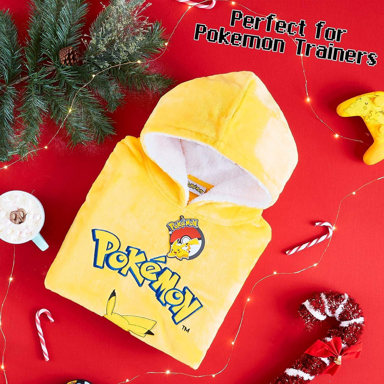 Pikachu Sudadera Manta con Capucha de Forro Polar Sudaderas Oversize para Ni/ños Regalos para Ni/ños y Adolescentes 7-14 A/ños Pok/èmon Sudadera Ni/ño