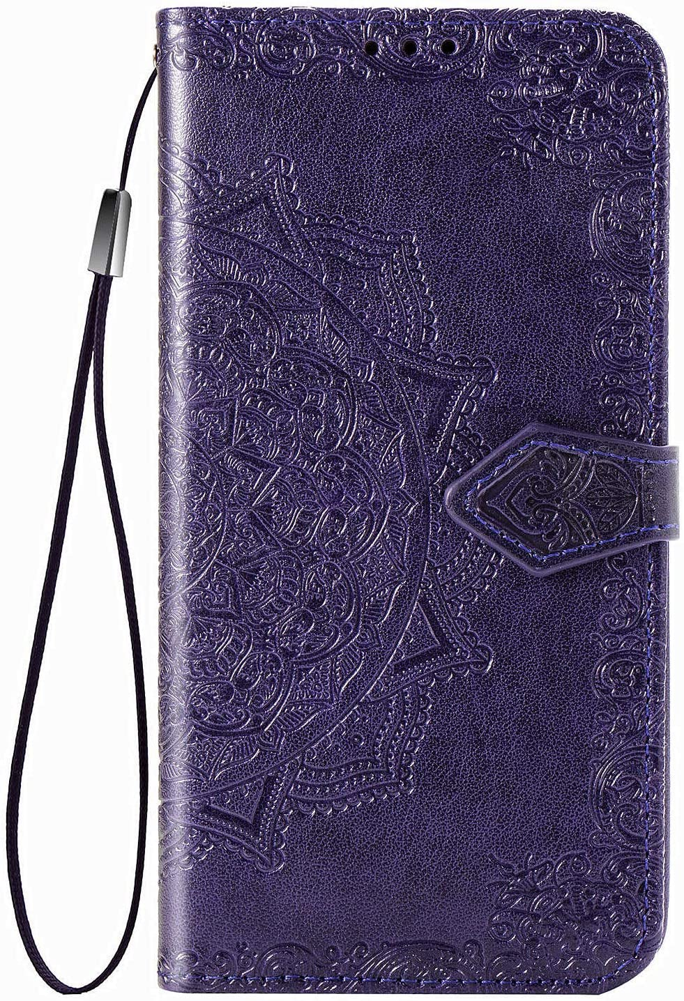 Wallet Case Compatible with iPhone 11 Pro Max 6.5 inch Mandala Flower Floral Embossed PU Leather Cover [Stand Feature] with Wrist Strap Hole [3-Slots] ID&Credit Cards Pocket Magnetic Clasps -Purple