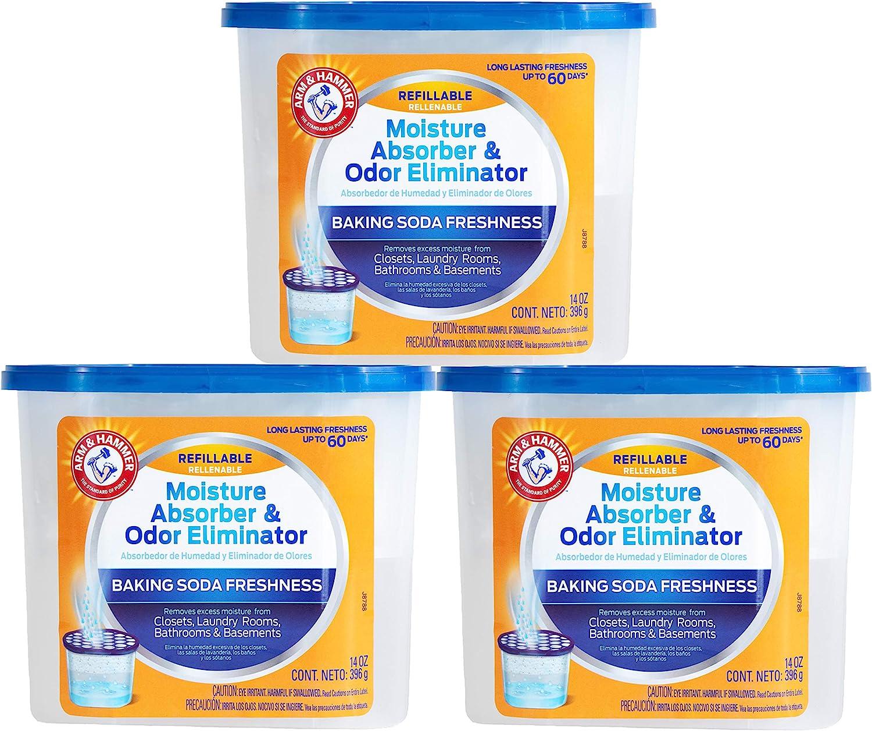 Arm & Hammer, 3 Ct Fragrance Free Refillable Moisture Absorber and Odor Eliminator 14 oz. Tub, 42 Ounces