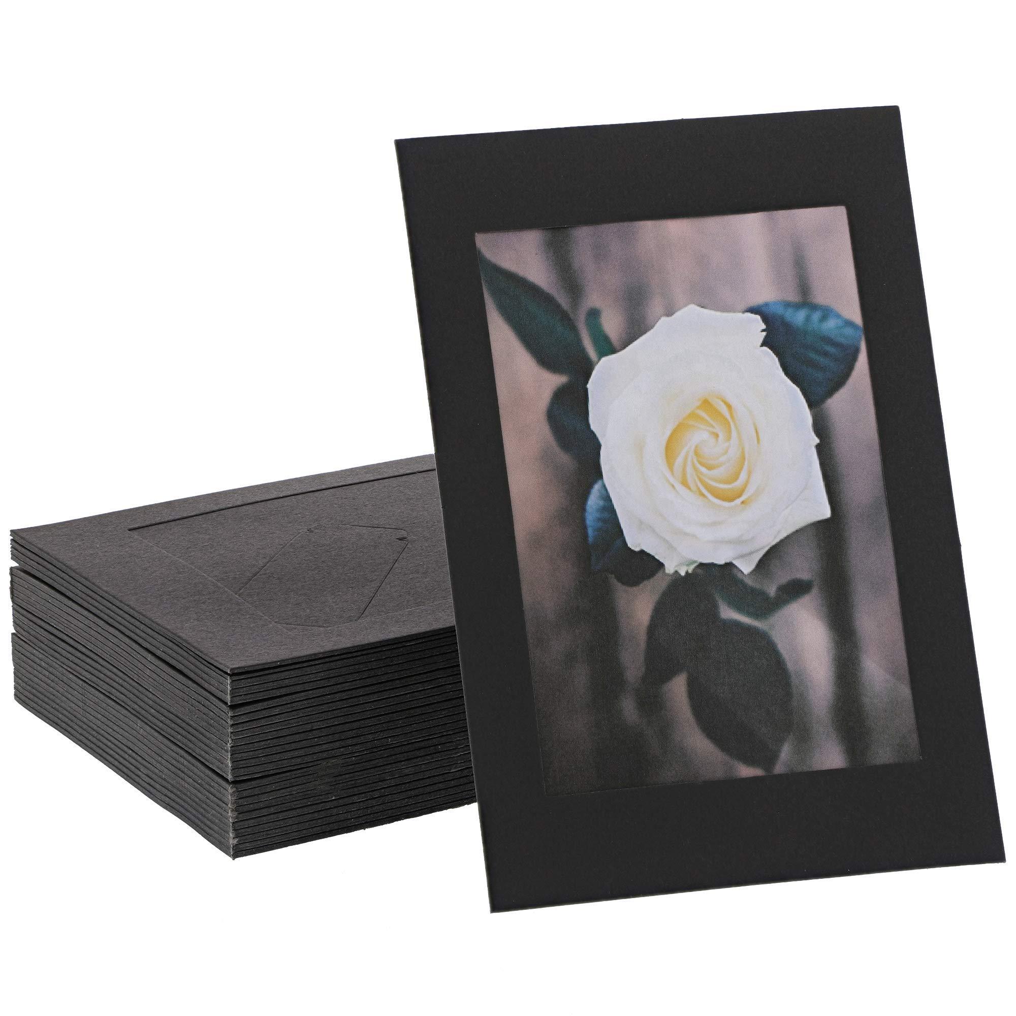 Cardboard Photo Picture Frame Kraft Paper Easel (Black, 4 x 6 In, 50 Pack)