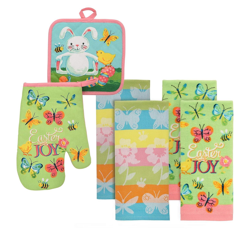 Pot Holder Easter Joy Kitchen Linen Set 6 Piece Set of Towels Oven mitt Town /& Country Linen Corp