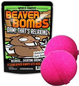 Beaver Bombs Pink Bath Balls Funny Beaver Gags for Friends Stocking Stuffers for Men Crazy White Elephant Ideas Dirty Santa Pink Bath Bombs XL Bath Fizzers for Adults Weird Novelty Bath Products